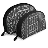 Black White Tribal Ethnic Geometric Abstract Cosmetic Pouch Clutch Portable Bags Handbag Organizer...