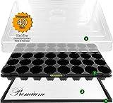 Anzuchthaus PRO40 Zimmer-Gewächshaus Hydroponik XL, automatische Bewässerung für die Anzucht - Profi Treibhaus mit Wanne + Kapillarsystem + QP Topfplatte + Haube