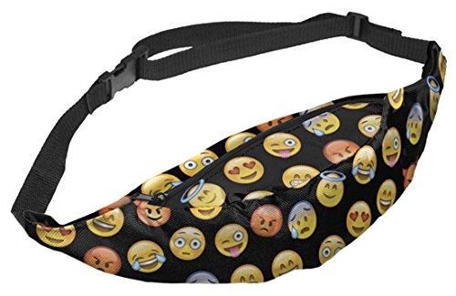 Kukubird Varia Stampa Cintura Marsupio Borsa Con Sacchetto Di Polvere Di Kukubird Emoji Black