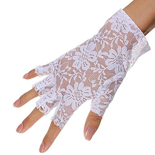 chuhe, Frauen Handgelenk Länge Halbe Fingerhandschuhe, Sexy Braut Hochzeit Blumenspitze Fingerlose Handschuhe UV Schutz Kostüm Handschuhe (Weiß) ()