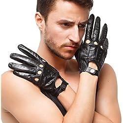 "Nappaglo hombres conduce guantes de cuero italiano de piel de cordero Full Finger moto Ciclismo Guantes de montar sin forro (XL (Palm circunferencia: 9.1 ""), negro (no táctil))"