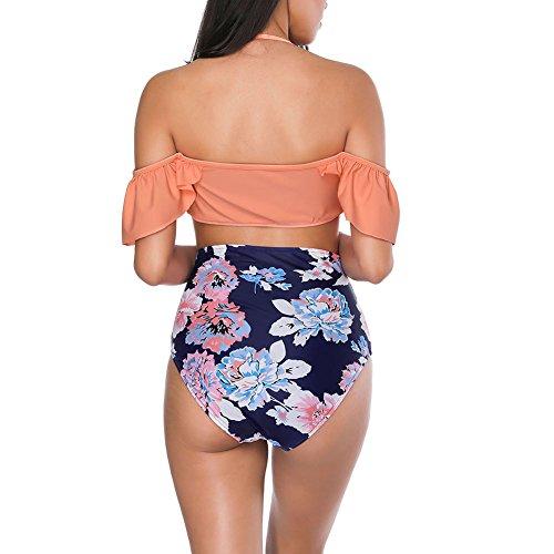 Lover-Beauty Damen Bikini-Set mit Volant Push up Badenanzug Blumen Badebekleidung Swimsuit Zweiteilig Schwimmanzug Orange Blau