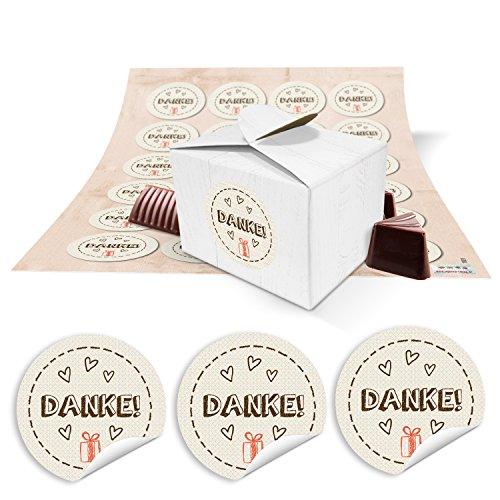 24 kleine weiße Geschenkboxen Geschenkverpackung Geschenkschachteln 8 x 6,5 x 5,5 + runde Aufkleber beige DANKE mit kleinem roten Geschenk, Verpackung für Gastgeschenke, Mitgebsel, give-aways - Beige Praline