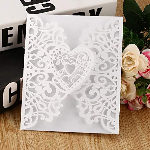 Eletam 10 Stücke Herz Hochzeitseinladungskarten Laser Cut Aushöhlen Umschläge Dichtungen Einladungsabdeckungen Hochzeit Braut Party Dekoration