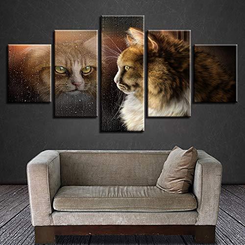 CQMEI Leinwand Malerei, dekorative Zimmer Wand Leinwand Bild Kunstwerk 5 Stücke von niedlichen Katze Tier und Seine Schatten Poster Art Hd Print Frame Malerei modular