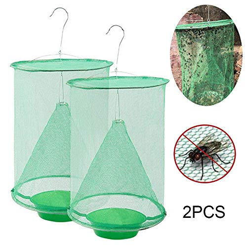 EUYOUZI Ranch Fly Trap, 2019 Most Effective Ranch Fly Catcher, Non-Toxic Folding Fly Trap Hanging Catcher Cage Net Fly Wasp Killer, Great for Indoor Or Outdoor Family Farms, Park, Restaurants (2Pcs) - Animal Cage Trap