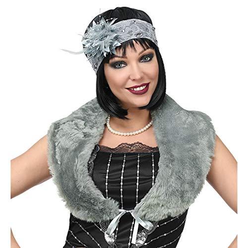 NET TOYS Charleston-Accessoires mit Stola & Kopfschmuck | Grau | Traumhafte Frauen-Verkleidung 20er & 30er Jahre Kostüm-Set | Genau richtig für Karneval & Mottoparty (Jazz Diva Kostüm)