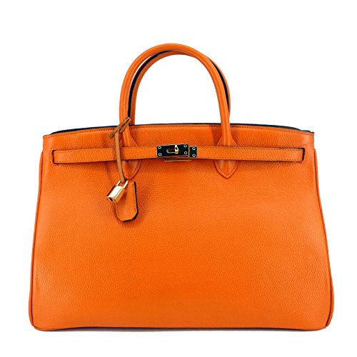 New In / Rouven Studio / Icone 40 Tote Bag / Orange / Gold / Leder Tasche Shopper Handtasche / groß / Business / edel modern chic puristisch / 40x28x19cm (New-handtaschen Tote Bag)