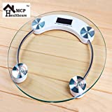 #4: MCP Personal Digital Bathroom Weighing Scale glass weight Machine for body weight measurement (8mm White Round Weighing machine)