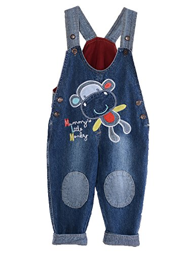 GGBaby Unisex Baby Jumpsuit Dungarees Toddler Cartoon Boys Girls Denim Jeans Overalls Roll Up Jumpsuit
