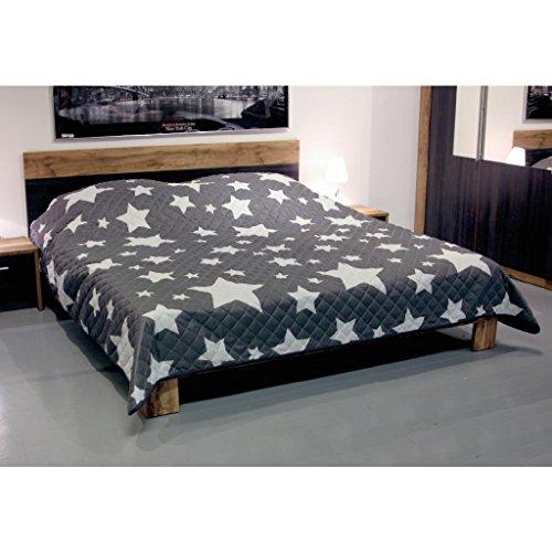 Tagesdecke in vielen Designs, gesteppter Bett- und Sofaüberwurf XXL ( 220x240cm - Sterne grau )