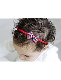 Golden haz Classic tartán bebé lazo–Tartán pequeño como una mariposa lazo–Cinta para el pelo–hecho a mano infantil para adulto diadema