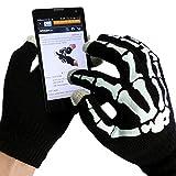 Touchscreen Handschuhe Damen Herren Kinder Schwarz für den Winter mit Skelett Druck für alle Apple iPhone, iPad, Samsung Smartphones, Tablets und alle anderen Smartphones mit Touchscreen