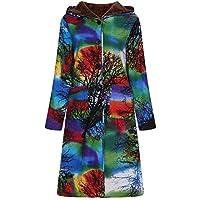 TWBB Plus Samt Mantel Knielang,Winter Hoodie Outwear Cardigan mit Kapuze und Taschen Parka Jacke StrickjackeOutwear