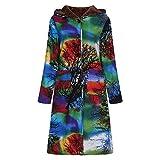 TWBB Plus Samt Mantel Knielang,Winter Hoodie Outwear Cardigan mit Kapuze und Taschen Parka Jacke StrickjackeOutwear Vergleich