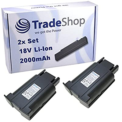 2x Trade-Shop Premium Li-Ion Akku 18V / 2000mAh / 36Wh ersetzt Kärcher 4.654-279.0 46542790 für Kärcher Kehrmaschine KM35/5, KM 35/5 C