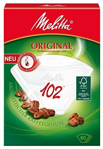 80 x Filtertüten / Kaffeefilter 'Melitta Original 102' (Weiß / 3 Aromazonen-Filter)