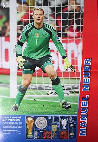 1x Einzelposter Manuel Neuer Star-Poster Deutsche Fußball-Nationalmannschaft EM WM Weltmeister Nationalspieler Stars Helden Deutschland Germany Fan Foto DFB Team (02. Manuel Neuer)