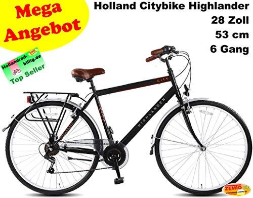 Vogmas Herren Hollandrad Highlander 28 Zoll, 6 Gang, Schwarz, 53 cm