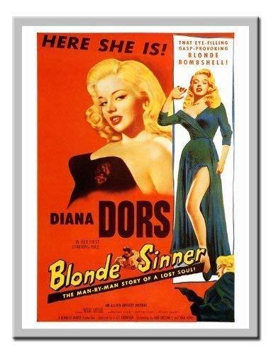 iPosters Blonde Sinner Diana Dors Movie Druck 1950er Memo Board, Magnet Silber gerahmt-41x 31cms (ca. 40,6x 30,5cm) -