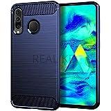 REALIKE Samsung M40 Back Cover, Carbon Fiber Full Shockproof Back Case for Samsung M40 (Carbon Blue)