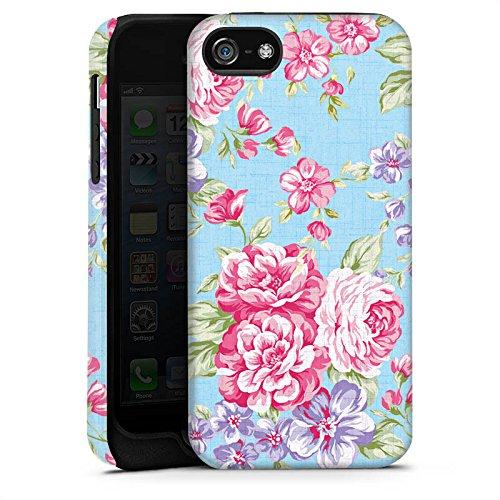 Apple iPhone X Silikon Hülle Case Schutzhülle Retro Frühling Flower Tough Case matt