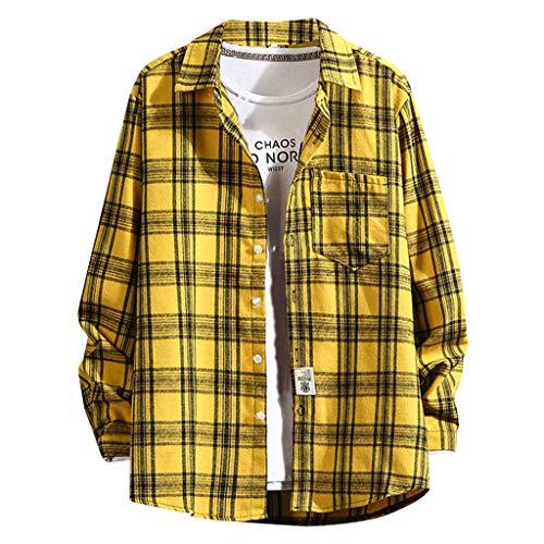 BfmyxgsM-5Xl Mode Übergröße Plus Größe Lose Bequemes Hemd Für Männer Knopf Tasche Kariertes Hemd Für Jungen - Plus Größe Hemdchen