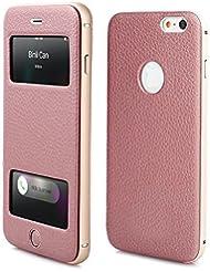 PhoneStar - Funda de piel auténtica con ventana y aluminio CNC fresado para Apple iPhone 6, 6S, color negro rosa Rosé iPhone 6s, 6