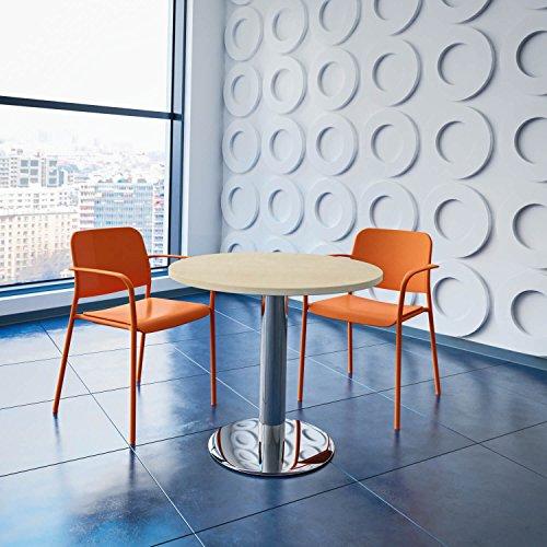 Weber Büro OPTIMA runder Besprechungstisch Ø 80 cm Ahorn Verchromtes Gestell Tisch Esstisch