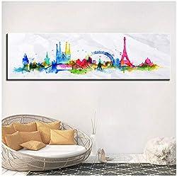 LYFCV Toile Peinture Murale Art 1 Pièce Monde Ville Paris Londres Photos Imprimer Coloré Aquarelle Horizon Affiche Home Decor -40x140cm No Frame