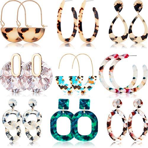 9 Paar Gesprenkelte Acryl Große Ohrringe Harz Bolzen Ohrringe Böhmische Aussage Bolzen Tropfen Baumeln Ohrringe Schmucksachen für Frauen Mädchen (Style Set 3)