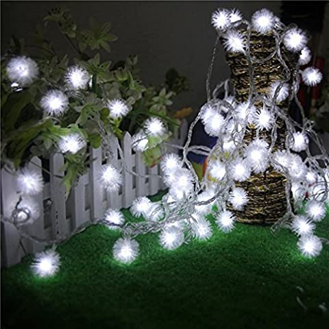 Toamen 2.5M 20 LED Airy String Light Dandelion Shaped Curtain Lamp Party Wedding Outdoor Decor (White)