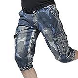 QinMM Mens beiläufige Tasche Strand Arbeiten beiläufige Kurze Hosen Shorts Hosen Training Jogging Shorts Sweatpant Mode Blau 30-40 (32, Blau)