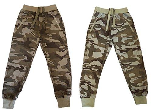 Hello Boy - Jungen Jogginghose in Camouflage - Khaki Farben / Army Look, Navy Look - 2x Farbauswahl in 6x Größenauswahl für jedes Kinderalter, (110-116, 1x Camouflage Hell)