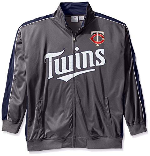MLB Minnesota Twins Herren Team Reflektierende Tricot Track Jacket, 5X, charcoal/navy (Track Jacket Charcoal)