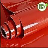Papel de contacto autoadhesivo de vinilo rojo de alto brillo30 cm × 300 cm Gabinetes Estante de la cocina Instalación de revestimiento de estante Eliminar Eliminar Papel pintado para muebles extraíble