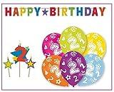 Libetui 2.Geburtstag Dekoration Geburtstag Deko-Set 'Stern' Happy Birthday farbenfrohe Partykette Bunte Girlande Spirale Luftballons und Geburtstags-Kerzen Zwei Jahre
