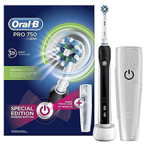 Oral-B Pro 750 Elektrische Zahnbürste, mit CrossAction Aufsteckbürste, Bonus Pack mit Reise-Etui, (El Zahnbürste)