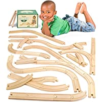 56 Pcs of Wooden Train Track Compatible w/All Major Brands