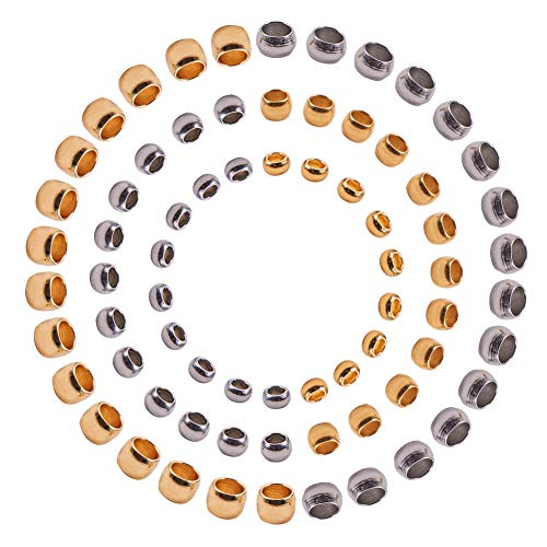 PandaHall Elite über 300 Stück 304 Edelstahl Rohr Crimp Perlen Cord Endkappen Durchmesser 1,5 mm 2 mm 2,5 mm für Schmuck Machen 2 Farben (Für Endkappen Schmuck Machen)