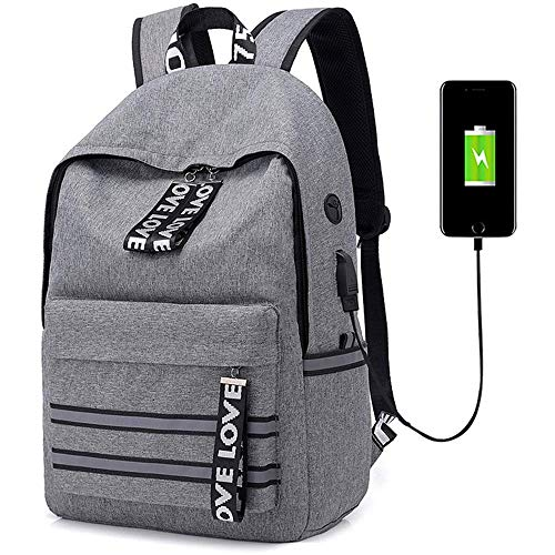 Zhong$chuang Sac à Dos pour Ordinateur Portable avec Port de Charge USB. Voyage en Plein air. (Color : Gray)