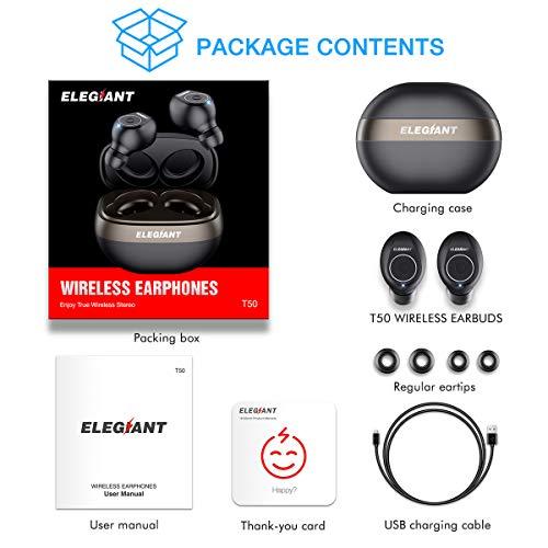 0fa36034e23 ELEGIANT Auriculares Bluetooth 5.0, Mini Cascos Inalámbricos IPX6  Deportivos TWS Estéreo con Micrófono Llamadas Manos