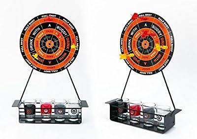 Invero® Amusement Fléchettes Party potable Game Set Comprend 4x Tir Lunettes, 4x Fléchettes magnétiques et 1 x Métal cible de fléchettes pour les fêtes, Noël et plus
