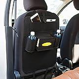 Kingko®Kick-Matten mit Multi-Pocket-Organizer, Sitzlehnenabdeckungen für Auto-, SUV-, Minivan oder LKW-Sitze, Auto Zubehör und Schutz für Kinder (Schwarz)
