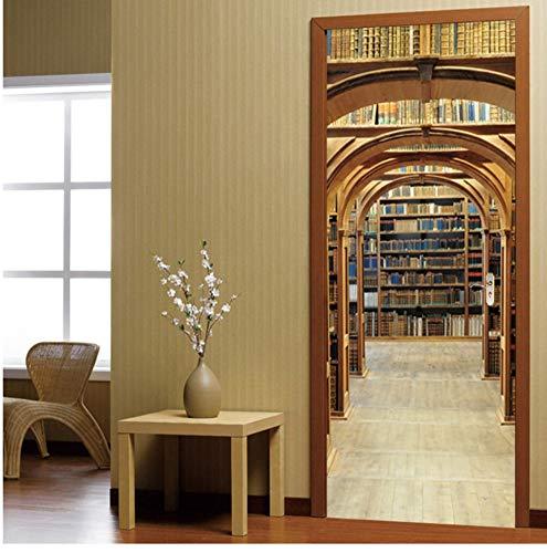 PANDABOOM 3D Tür Aufkleber Moderne Bibliothek Bücherregal Tapete PVC Selbstklebende wasserdichte Wohnkultur Wandtattoos Paste 90X200Cm - Bibliothek Bücherregal