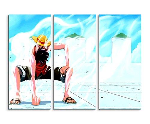 One Piece Comic Manga Wandbild 3 teilig 120x90cm (jedes Teil 40x90cn) schöner Kunstdruck auf echter Leinwand gespannt auf Echtholzrahmen