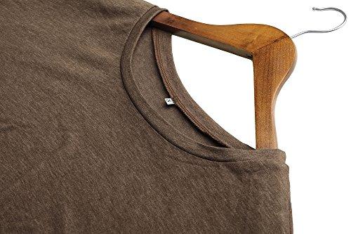 ECOWISH Langarmshirt Damen Pullover Frühling Knopf Rundhals Tshirt Hemd Oberteile Tops Khaki