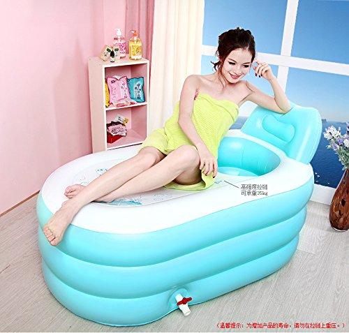 CLG-FLY bei Erwachsenen aufblasbare Badewanne Whirlpool Badewanne Barrel faltbare Badewanne aus durchsichtigem Kunststoff Badewanne Barrel verdickt, King Size + rosa Handpumpe