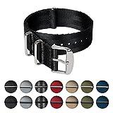 Archer Watch Straps | Cinturini NATO in nylon di altissima qualità stile cintura di sicurezza | Cinturini di ricambio resistenti tipo militare | Nero/Acciaio inox, 22mm