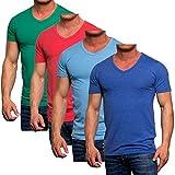 Jack Jones Herren V-Neck T-Shirt Slim Fit Basic Shirt Trendfarben Körperbetonend (L)